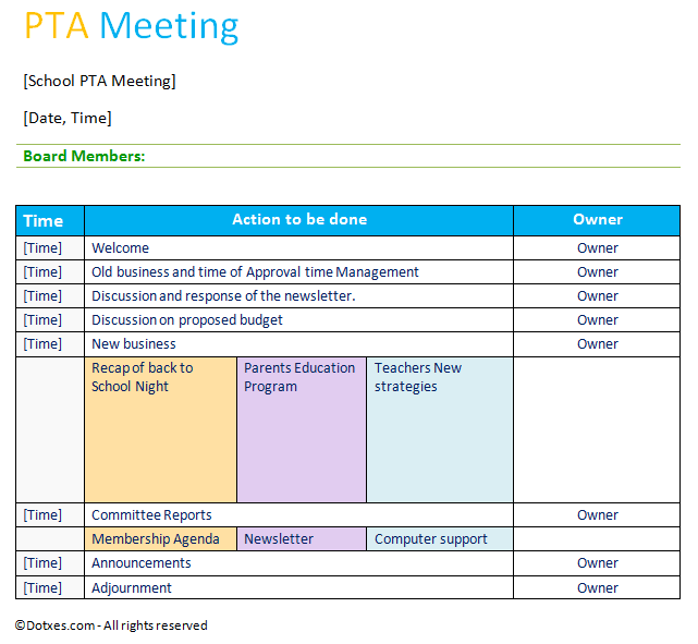 PTA Agenda Template Table Layout Dotxes