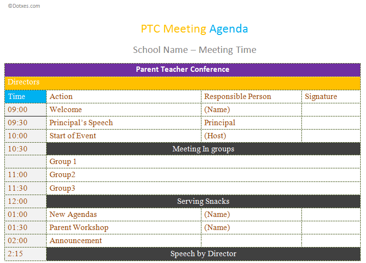 ptc meeting agenda template