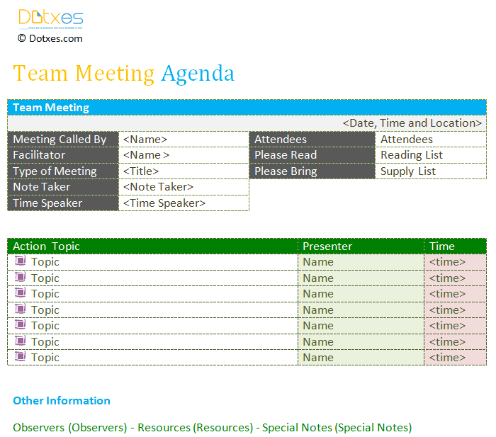 Professional team meeting agenda template