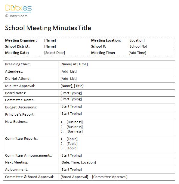 Free-printable-School-Meeting-Minutes-Template