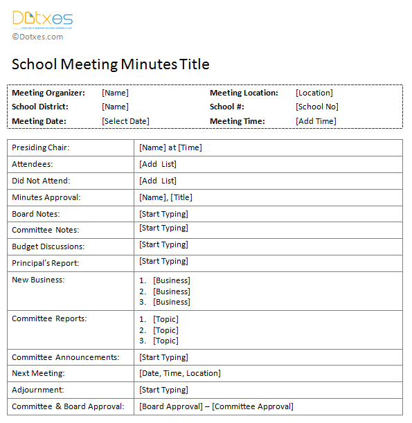 school meeting minutes template dotxes