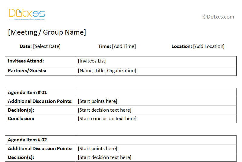 General Meeting Minutes Template Dotxes