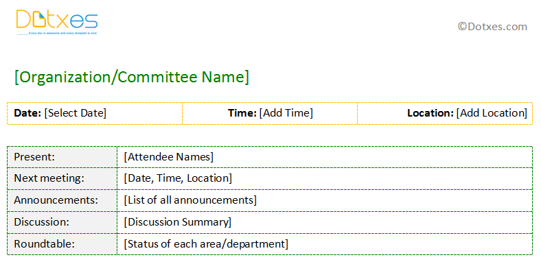 sample meeting minutes template in short format