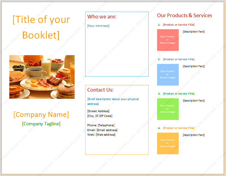 Booklet template in Word