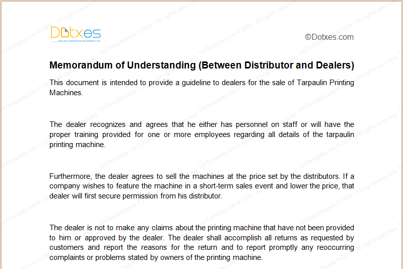 MOU Template Between Distributor And Dealers Dotxes