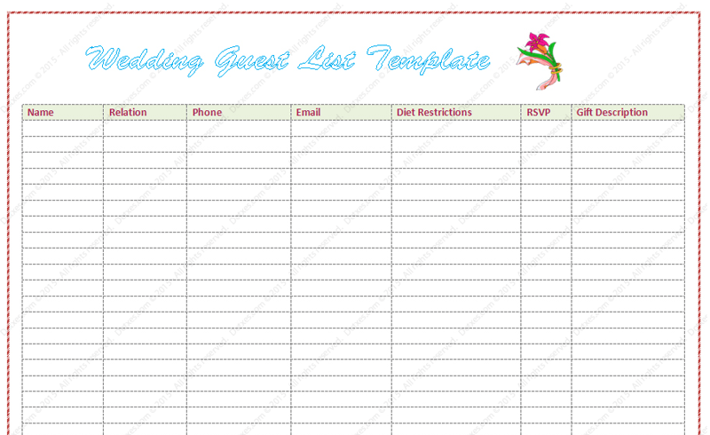 wedding guests list template