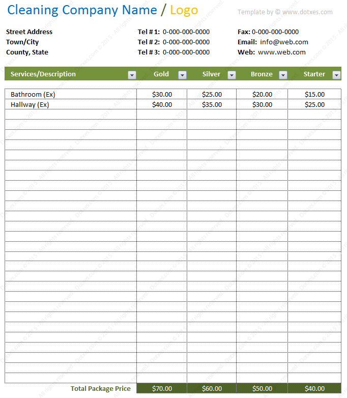 microsoft excel price list template