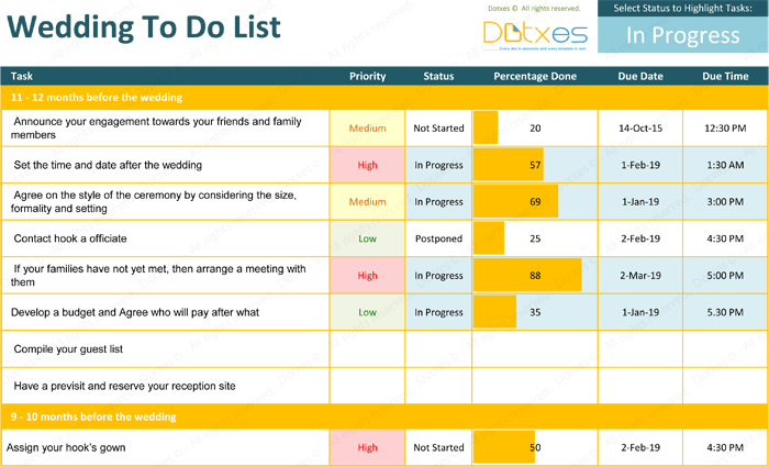 Wedding To Do List Template - Ideal Planning Checklist