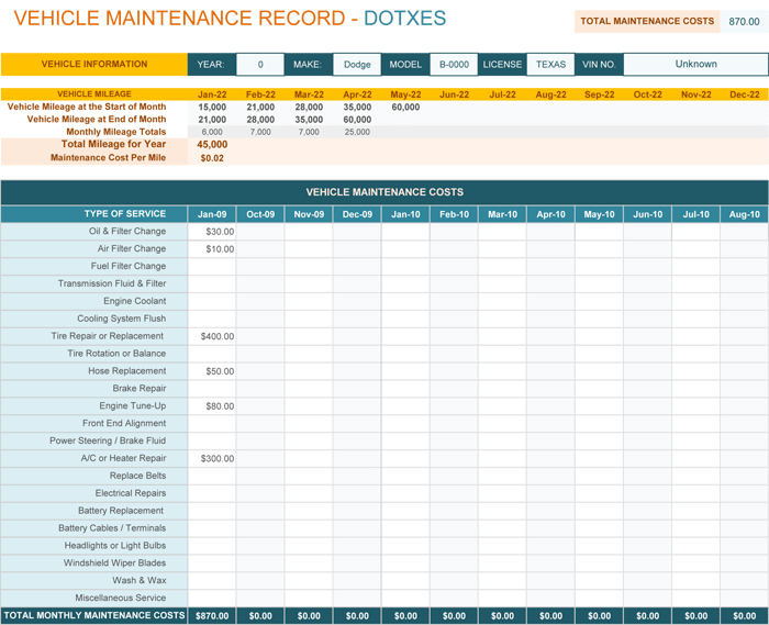 Vehicle Maintenance Log template for Excel®