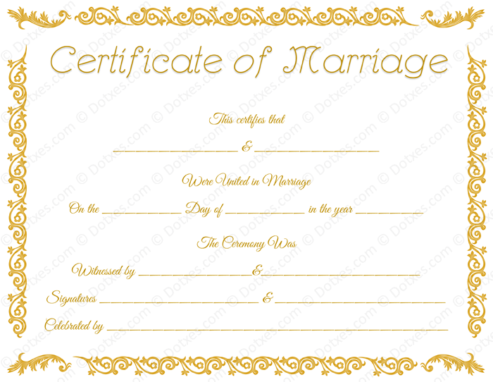 Printable Marriage Certificate Template for Word