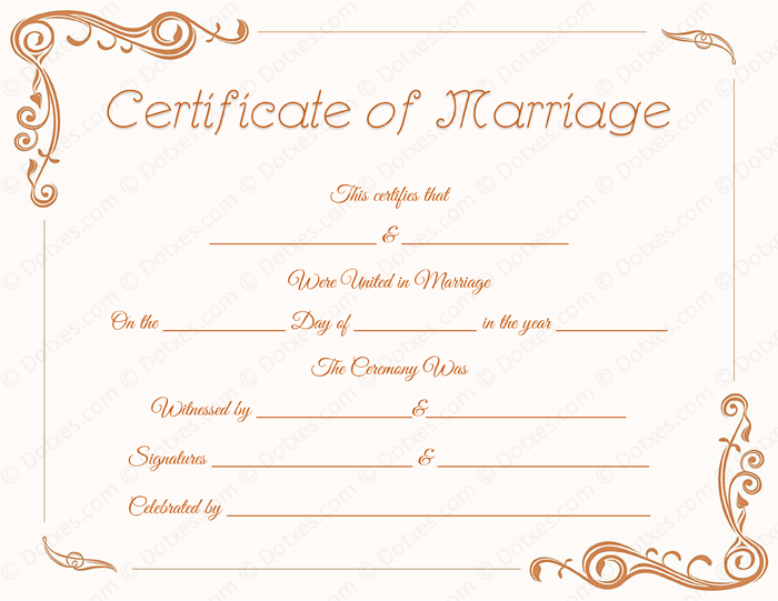 Printable Standard Marriage Certificate Template