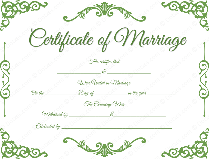 Traditional Corner Blank Marriage Certificate Template