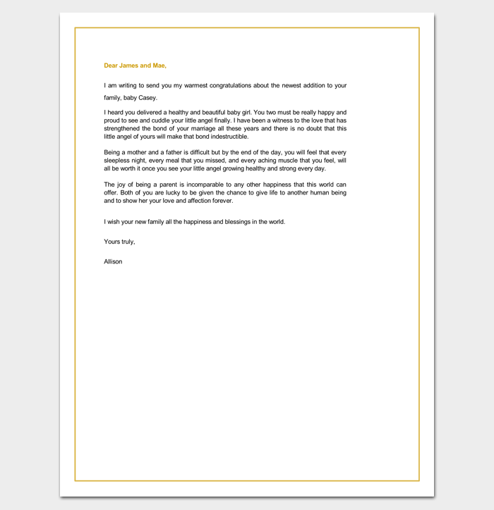 Congratulations-Letter-New-Baby Offer Letter Response Template on unhappy customer, client complaint,