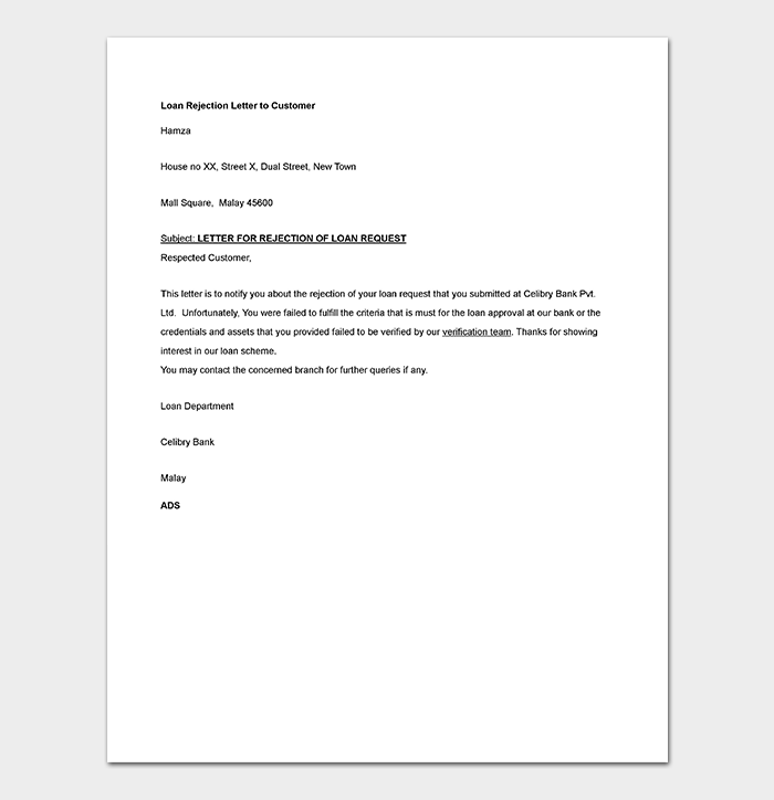 Bank-Loan-Request-Rejection Vacancy Application Email Template on report email template, collection email template, confirmation email template, capture email template, announcement email template, registration email template, thank you letter email template, incident email template, approval email template, follow up email template, interview email template, schedule email template, introduction email template, request email template,
