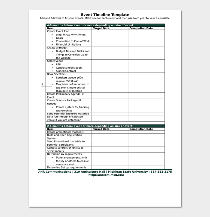 Event Planning Timeline Template Word