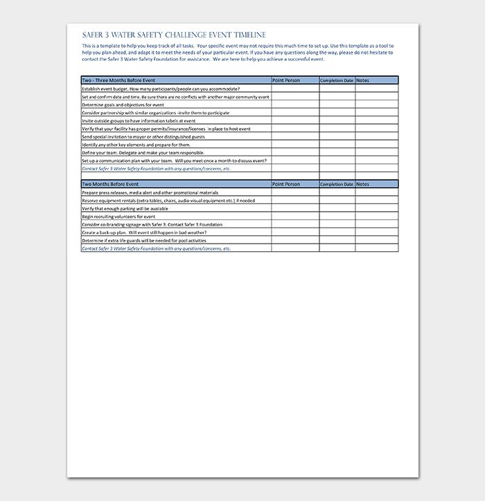 Event Timeline Template PDF
