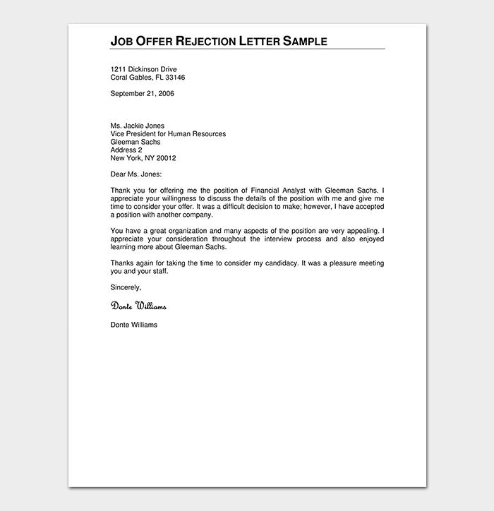 Formal Job Offer Rejection