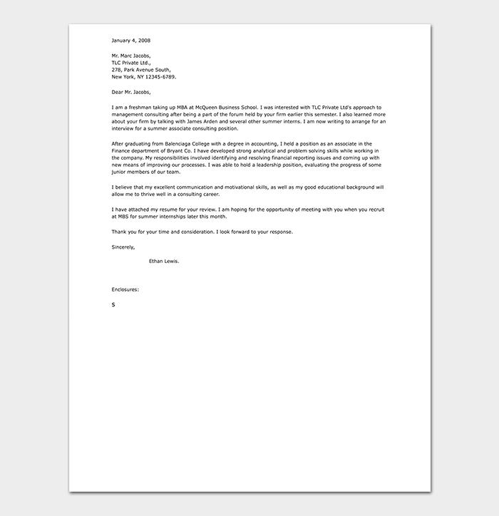 Professional Internship Cover Letter