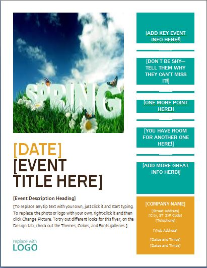 MS Word Seasonal Event Flyer Templates Word & Excel