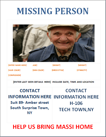 ms word missing person poster template