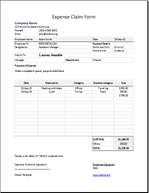 Expense Claim Form Template | Word & Excel Templates