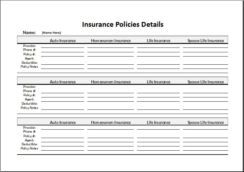 Insurance Policies Record Sheet For Excel