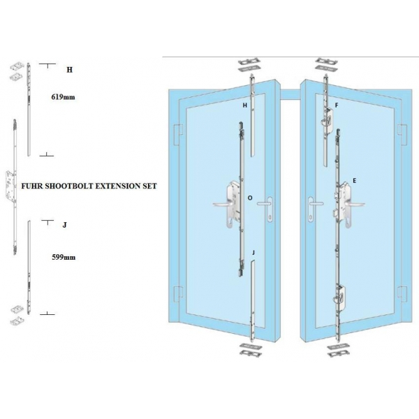 Fuhr Upvc French Door Shootbolt Extension Set