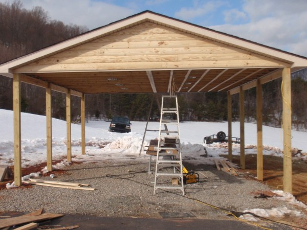 Double Contracting Log Siding Carport Match Home