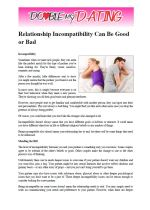 Relationship Incompatibility Can Be Good Or Bad.