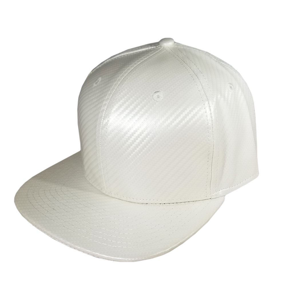 All-Solid-White-Carbon-Fiber-Flatbill-Snapback-Hat