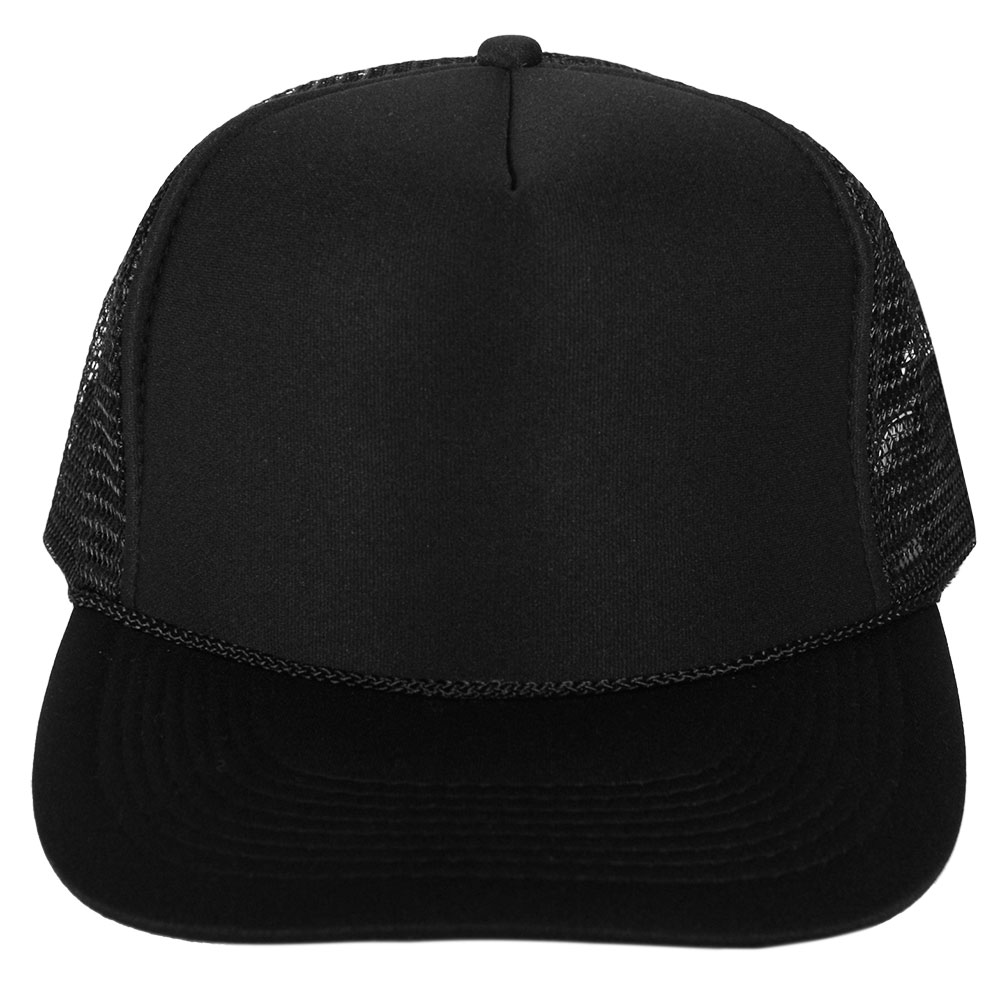 fe67fd64f56 Blank Hat  All Solid Black Foam Trucker (LARGE ADULT SIZE) – Double ...
