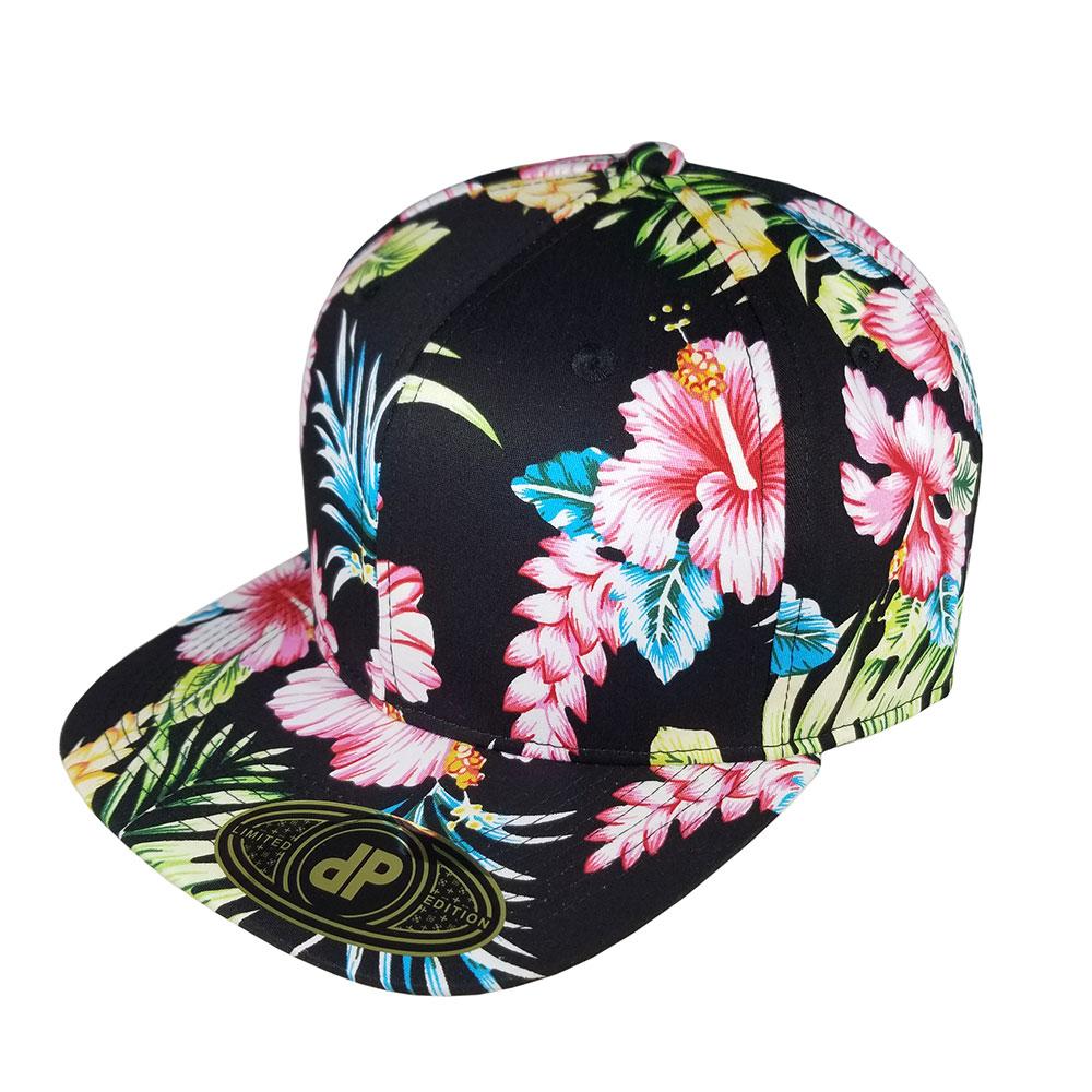 724f49a9165 Blank Hat Snapback Flatbill  Full Black Floral