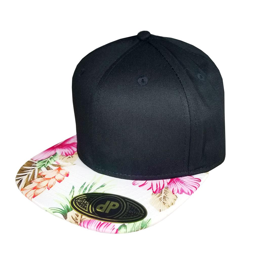Black-Pink-White-Floral-Bill-Snapback-Hat