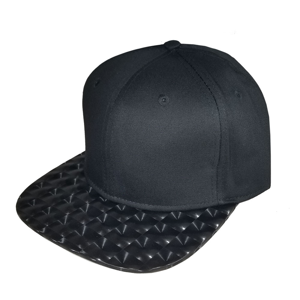 845ce65be4e4d9 Blank Hat Snapback Flatbill: Solid Black / Hologram bill – Double ...