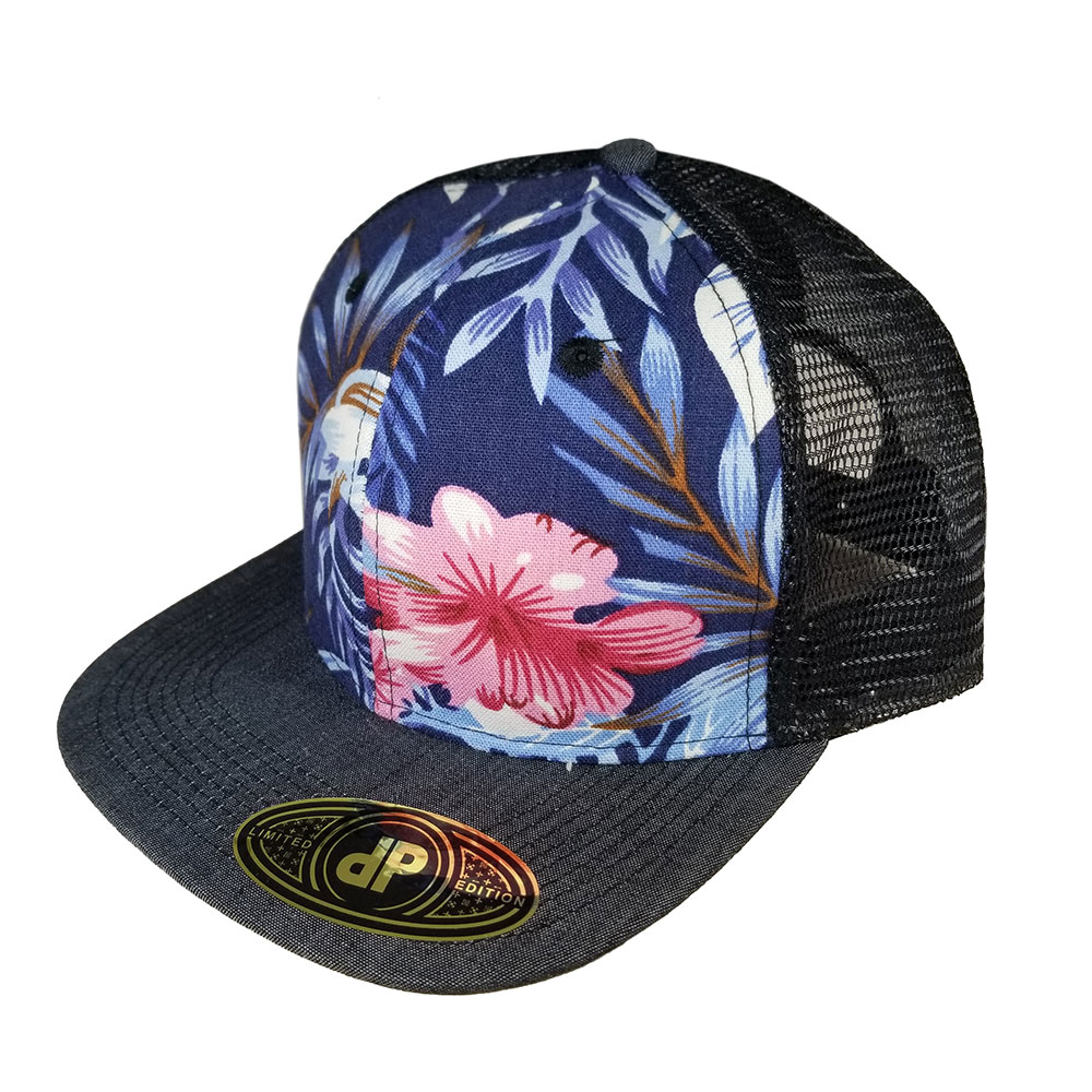 Floral-Black-Mesh-Black-Denim-Bill-Flatbill-Snapback-Hat