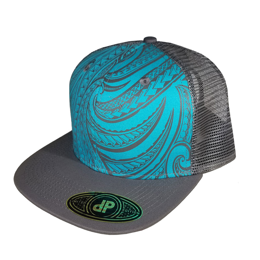 Mint-Gray-Turq-Tribal-Mesh-Snapback-Hat