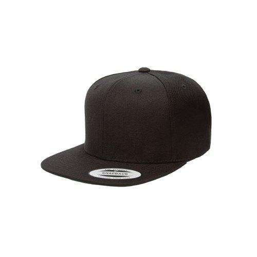 Blank Hat  Flexfit Yupoong 6089M Solid Black Flatbill Snapback 85d035fafbb