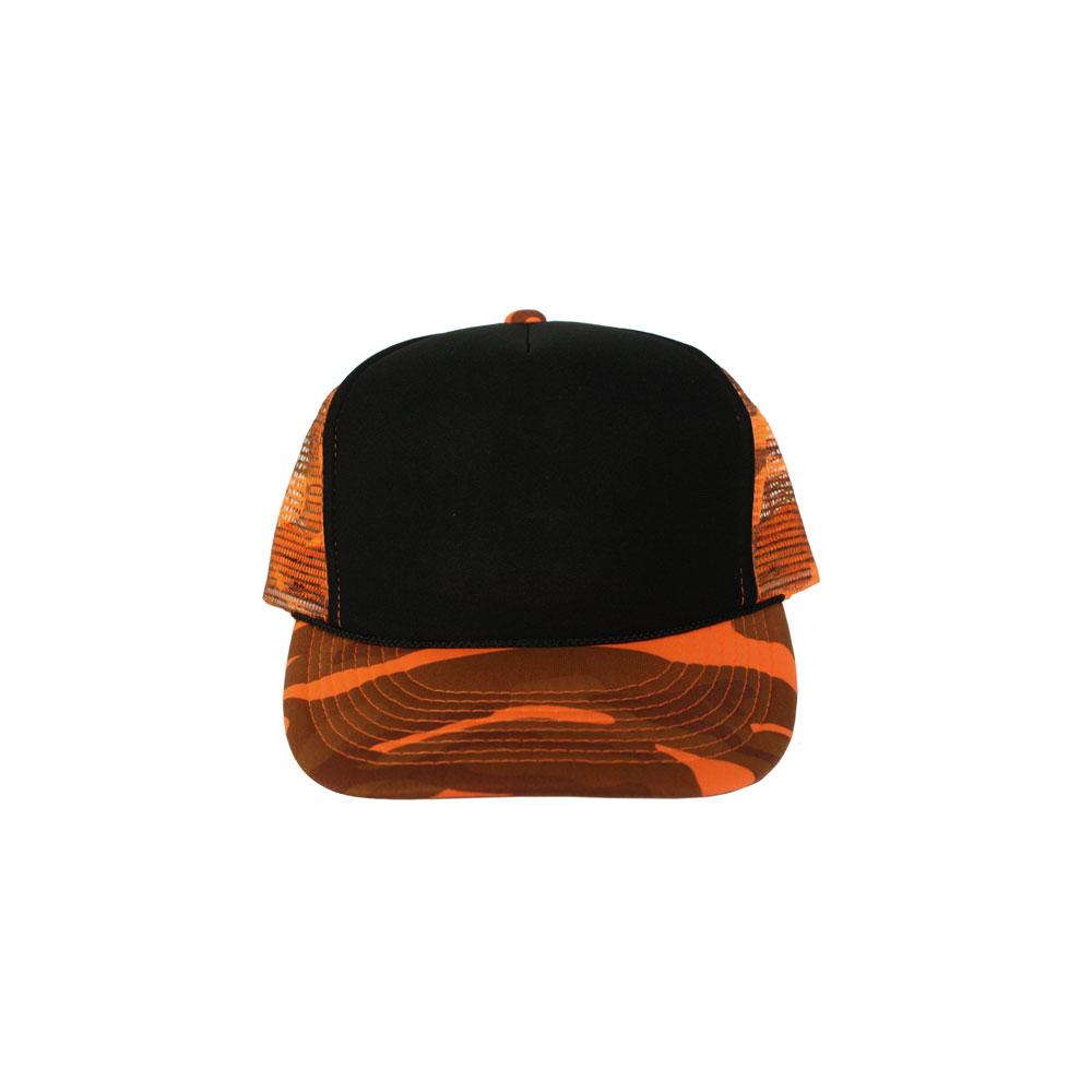 Black-Orange-Camo-Foam-Trucker
