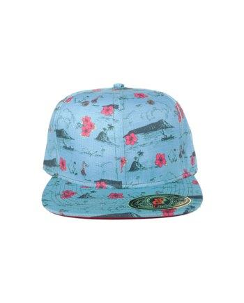 Turq-Pink-Flowers-Snapback