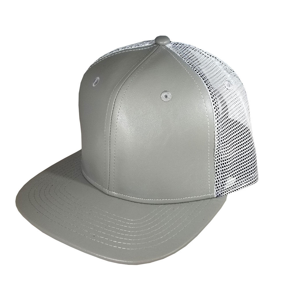 08d3823bf90ed Blank Hat Snapback Flatbill  Gray Leather   White Mesh – Double ...