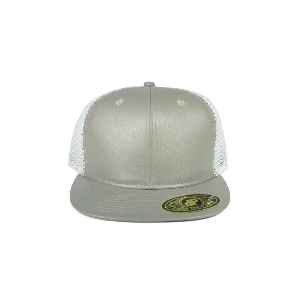 Blank Hat  Gray Leather   White Mesh Flatbill Snapback 7f8d404ba4d
