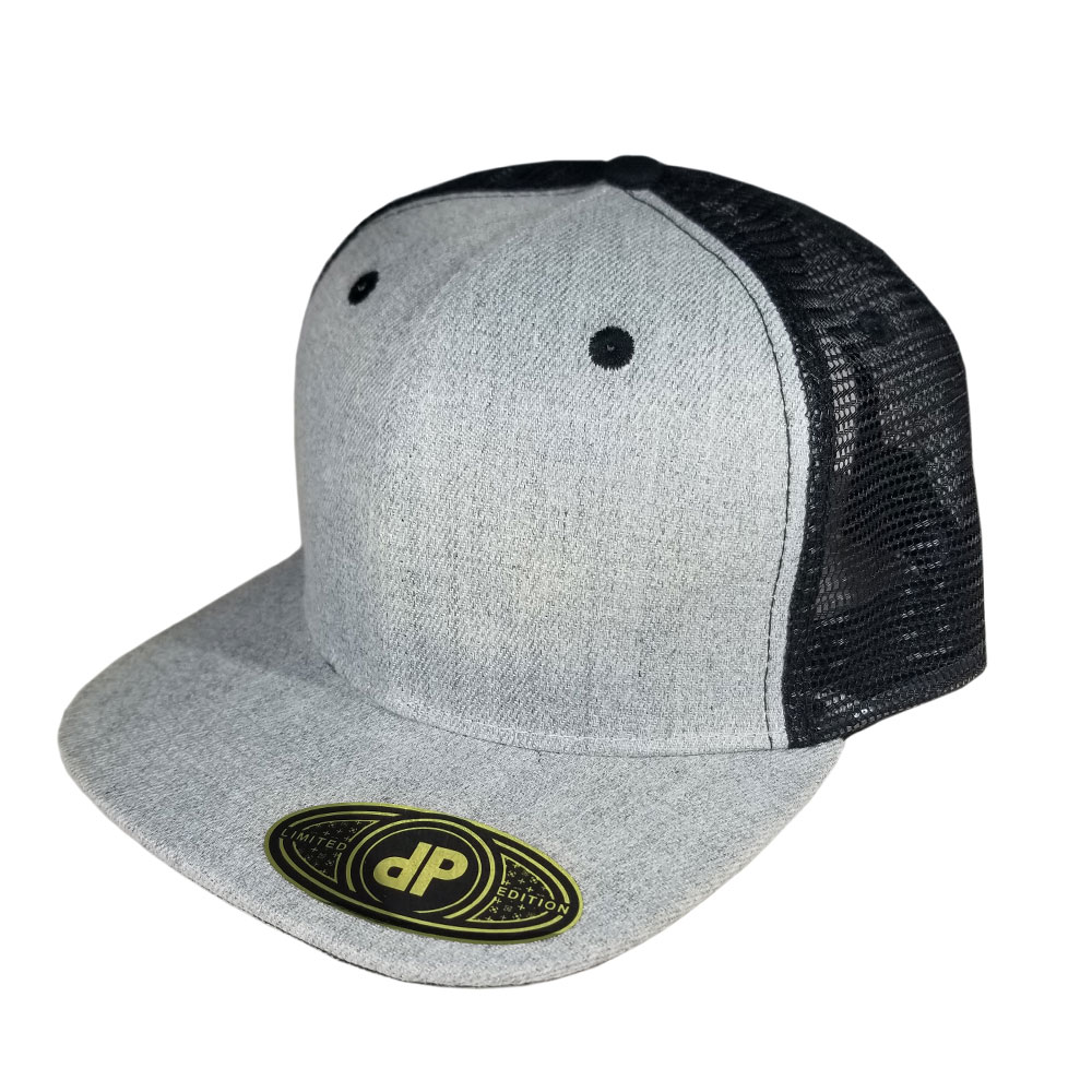 Heather-Black-Mesh-Flatbill-Snapback-Hat