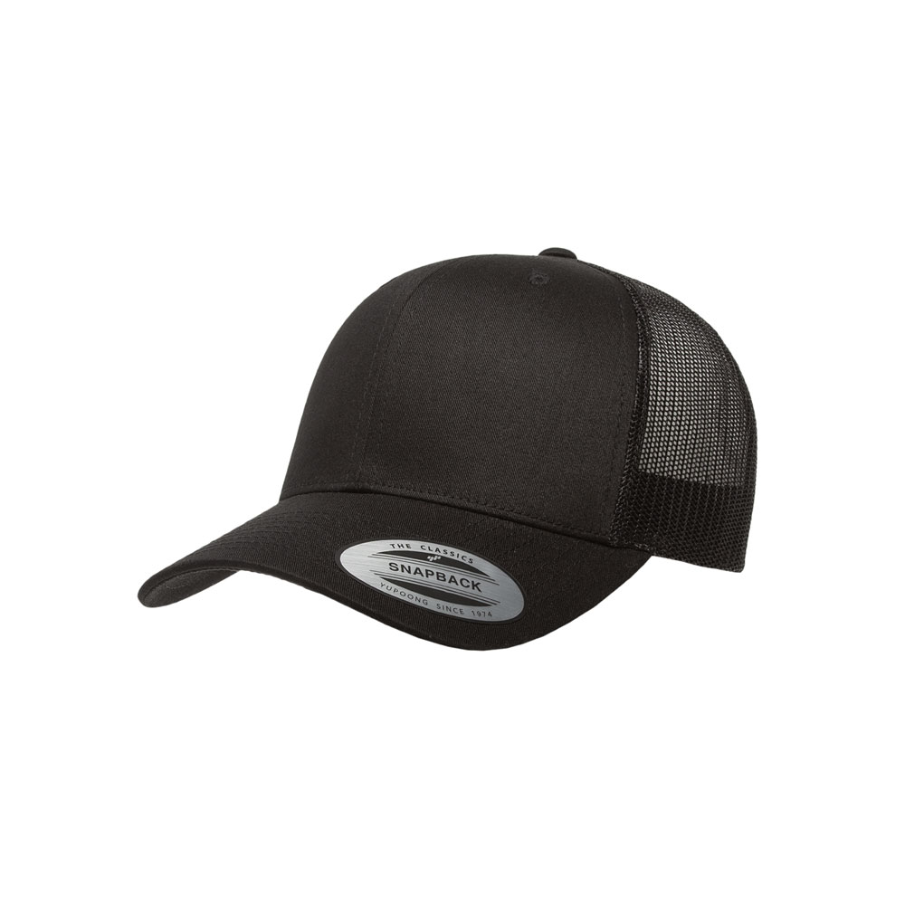 6204bfc3c30 Blank Hat  Flexfit Yupoong 6606 Solid Black Curved Bill Snapback ...