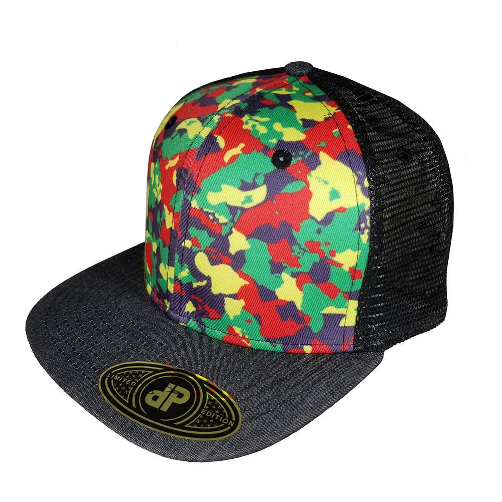 Rasta-Island-Camo-Denim-Black-Mesh-Flatbill-Snapback-Hat