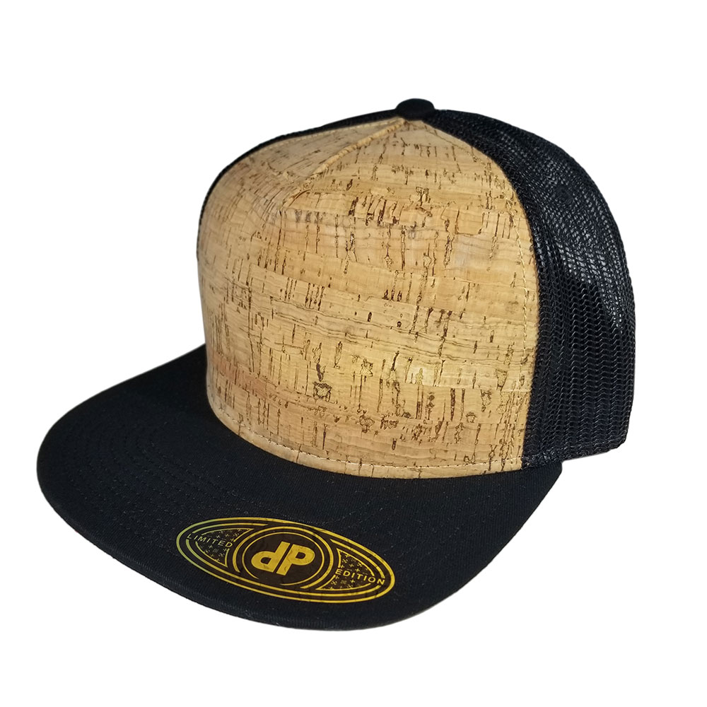 Black-Cork-Mesh-Flatbill-Snapback-Hat