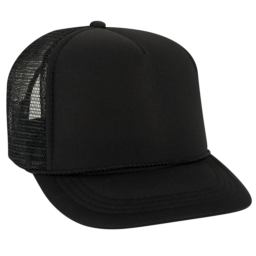 4cddbd374d6 Blank Hat  All Solid Black Foam Trucker (SMALL YOUTH SIZE) – Double ...