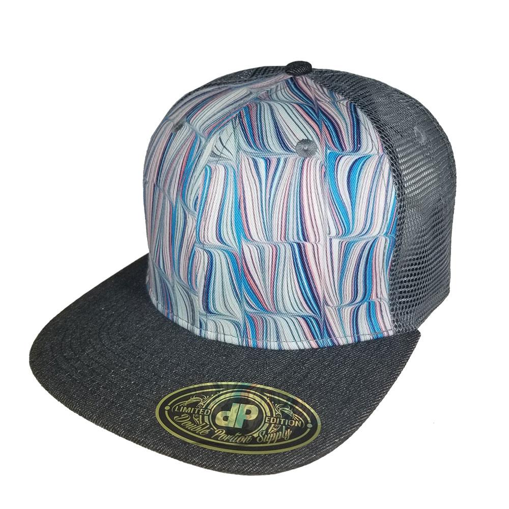 Swirly-Gray-Mesh-Snapback-Hat