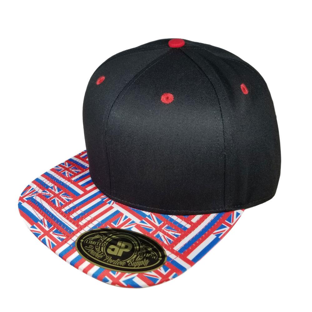 adc2a6061ee91 Blank Hat Snapback Flatbill  Hawaiian Union Flag Bill Color