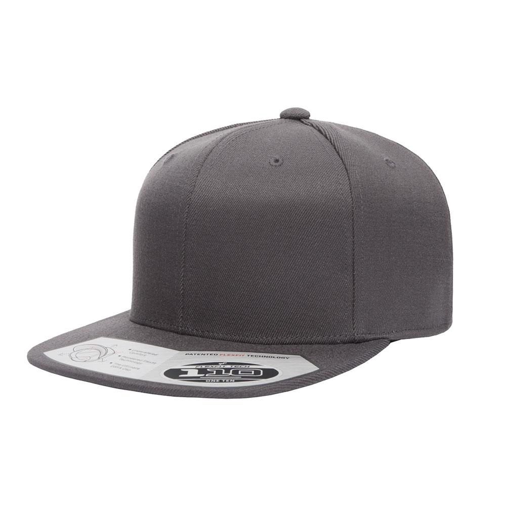 19a9432ce Blank Hat: Flexfit/Yupoong 110F Solid Dark Grey Flatbill Snapback