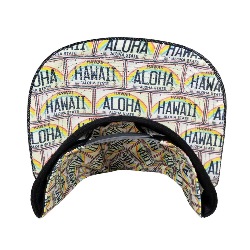 Aloha-Hawaii-License-Plate-Snapback-Flatbill-Hat-UnderBill